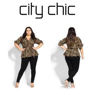 City Chic Leopard Wrap Top